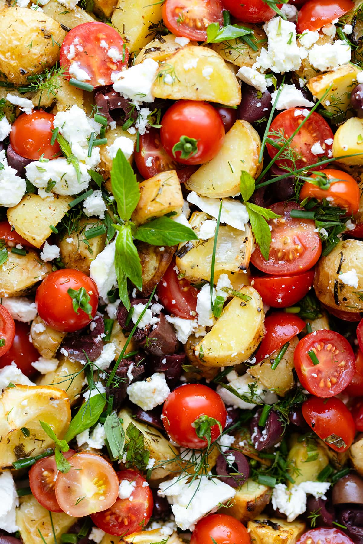 Greek Potato Salad with Feta, Olives, and fresh herbs on an oval platter. Close up photo.