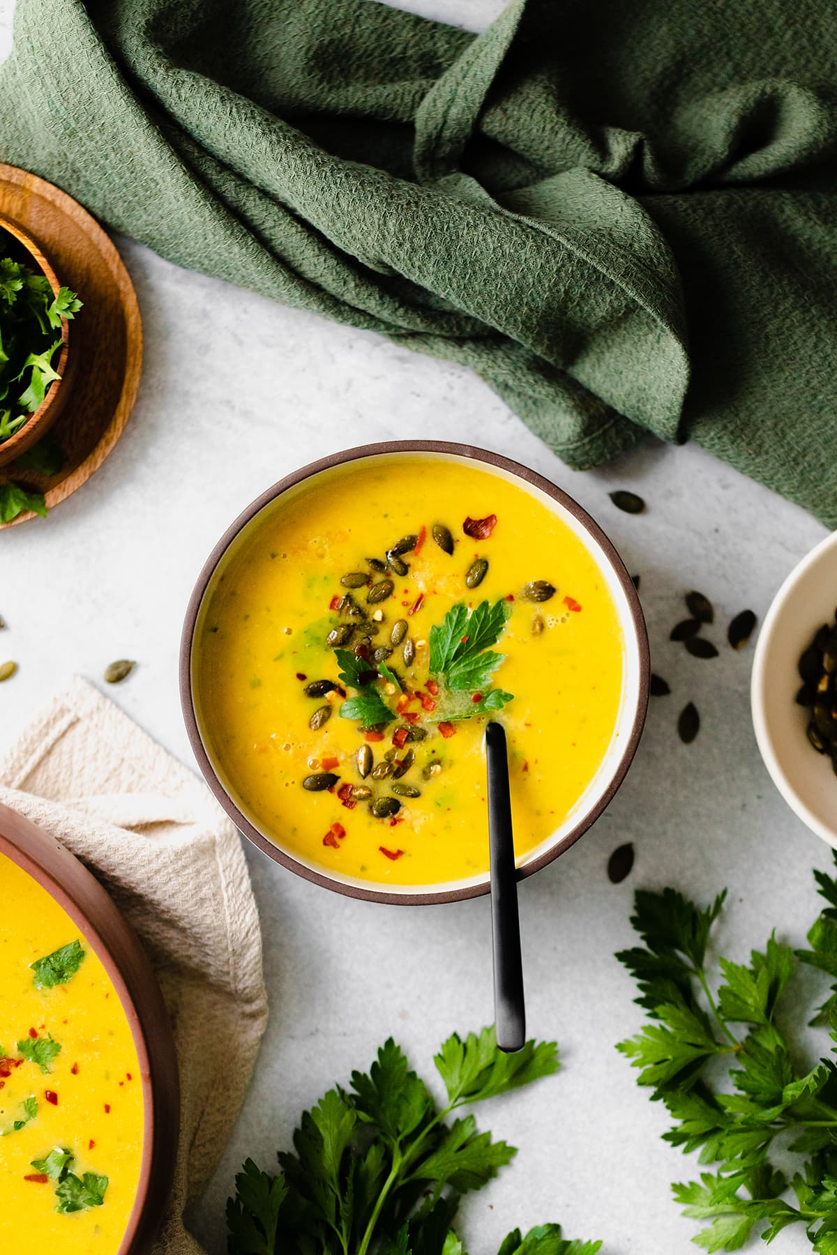 Overhead shot of Butternut Squash Curry Soup with Red Lentils