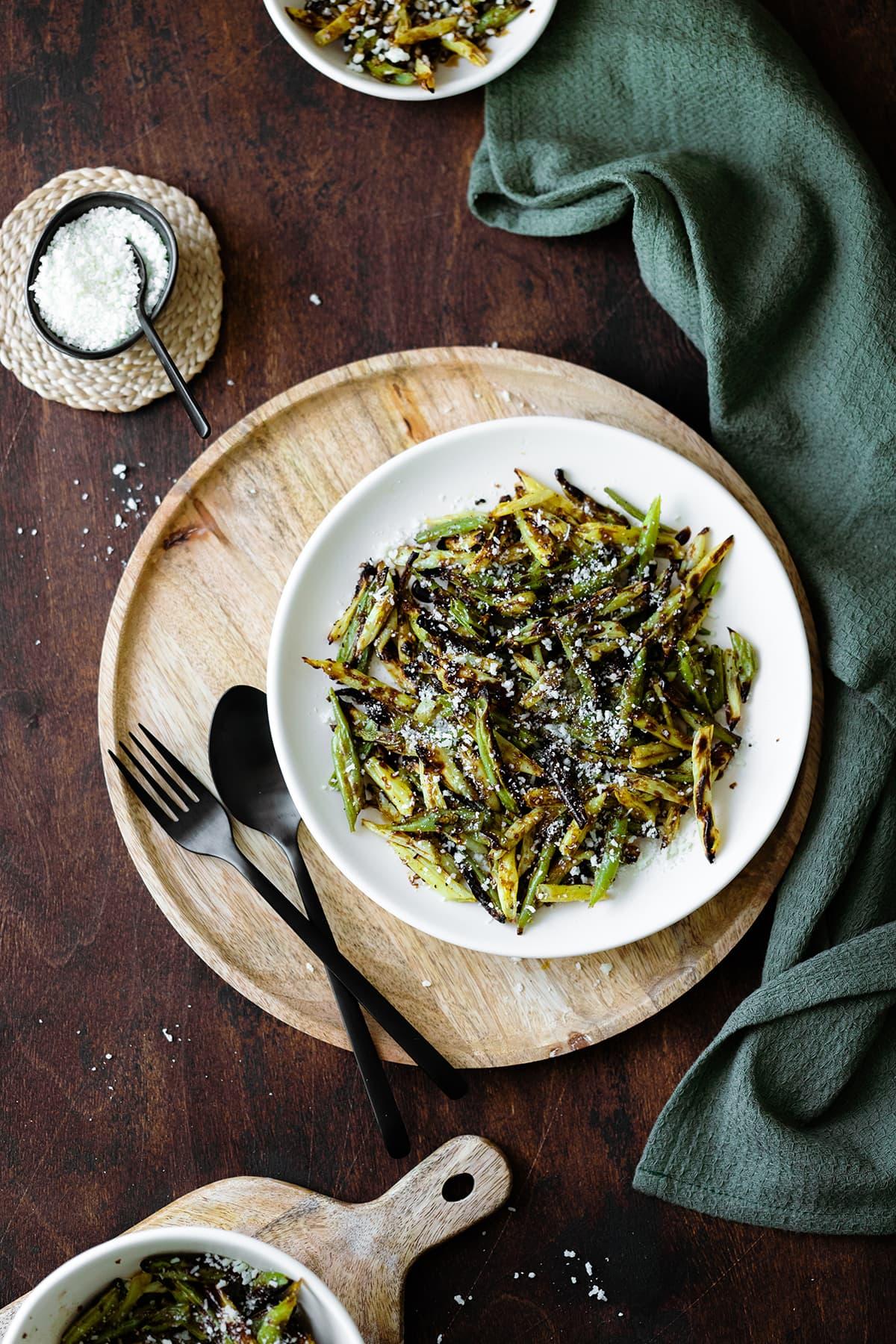 Ovrerhead shot of Charred Green Beans with Pecorino Cheese