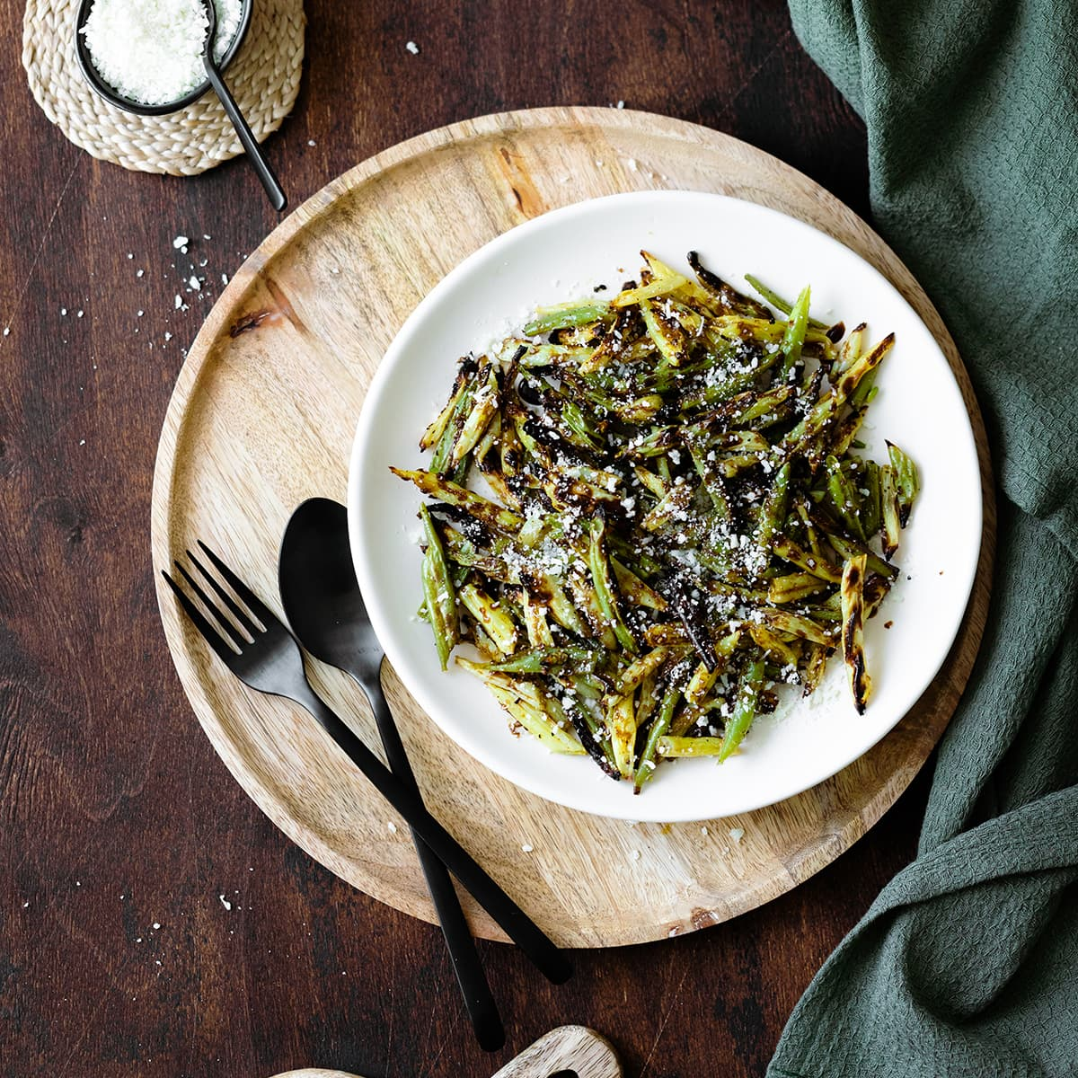Overhead square photo of Charred Green Beans with Pecorino Cheese