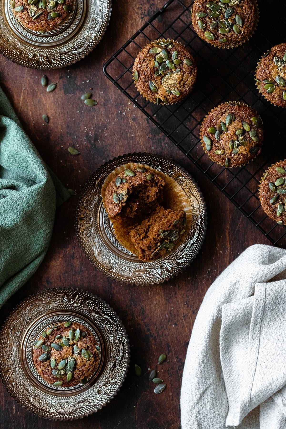 An overhead vertical shot of Gluten-Free Pumpkin Spice Muffins