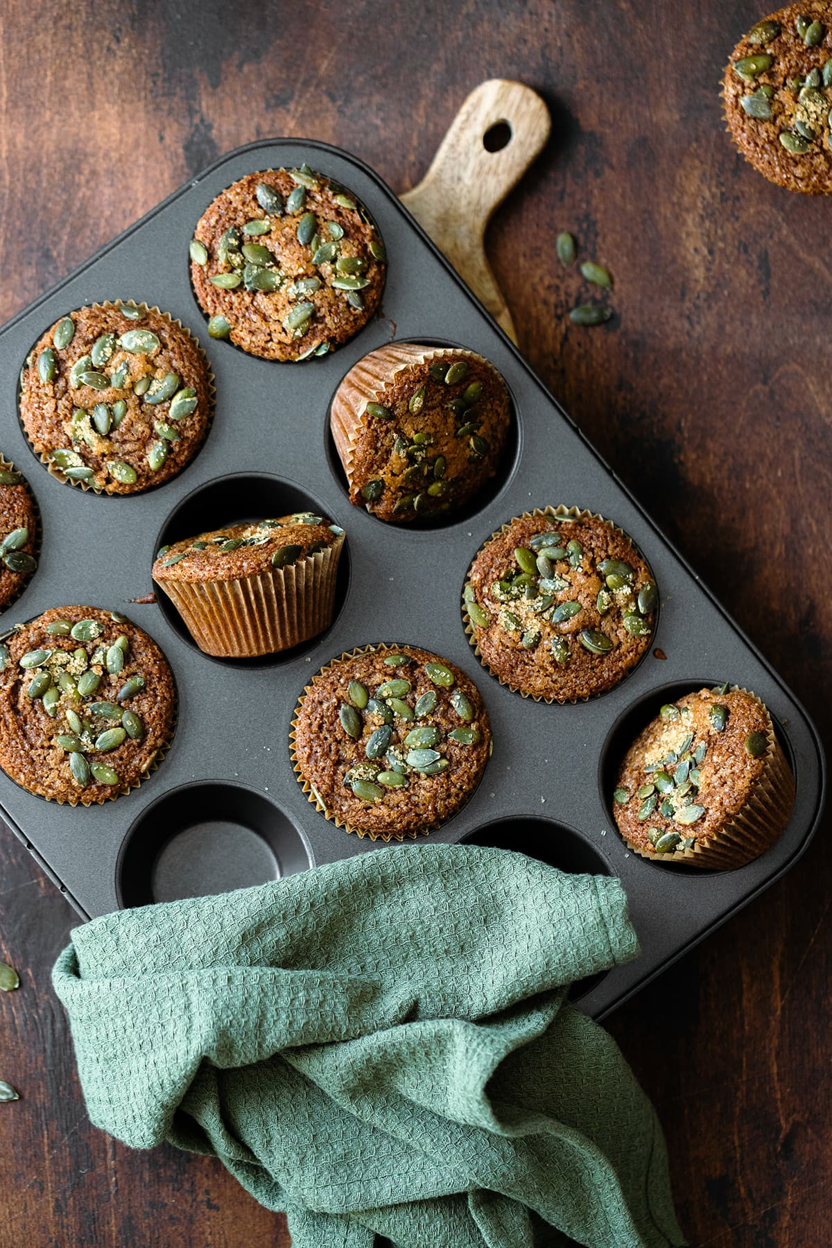 An overhead vertical shot of Gluten-Free Pumpkin Spice Muffins in the muffin tin