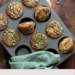 An overhead vertical shot of Gluten-Free Pumpkin Spice Muffins with text added