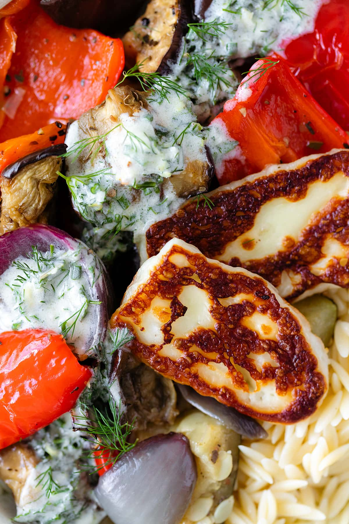 Halloumi Orzo Bowl with Roasted Vegetables and Yogurt Dill Sauce - zoom shot