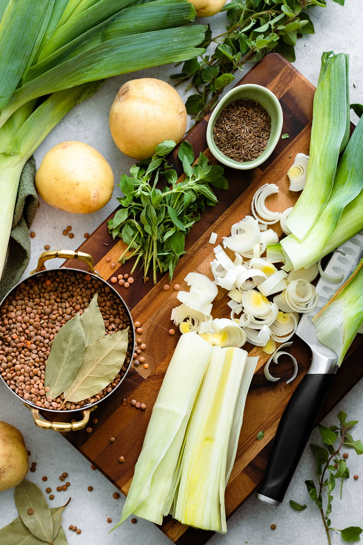 Overhead shot of Potato Leek and Lentil Soup with Caraway Seeds ingredients
