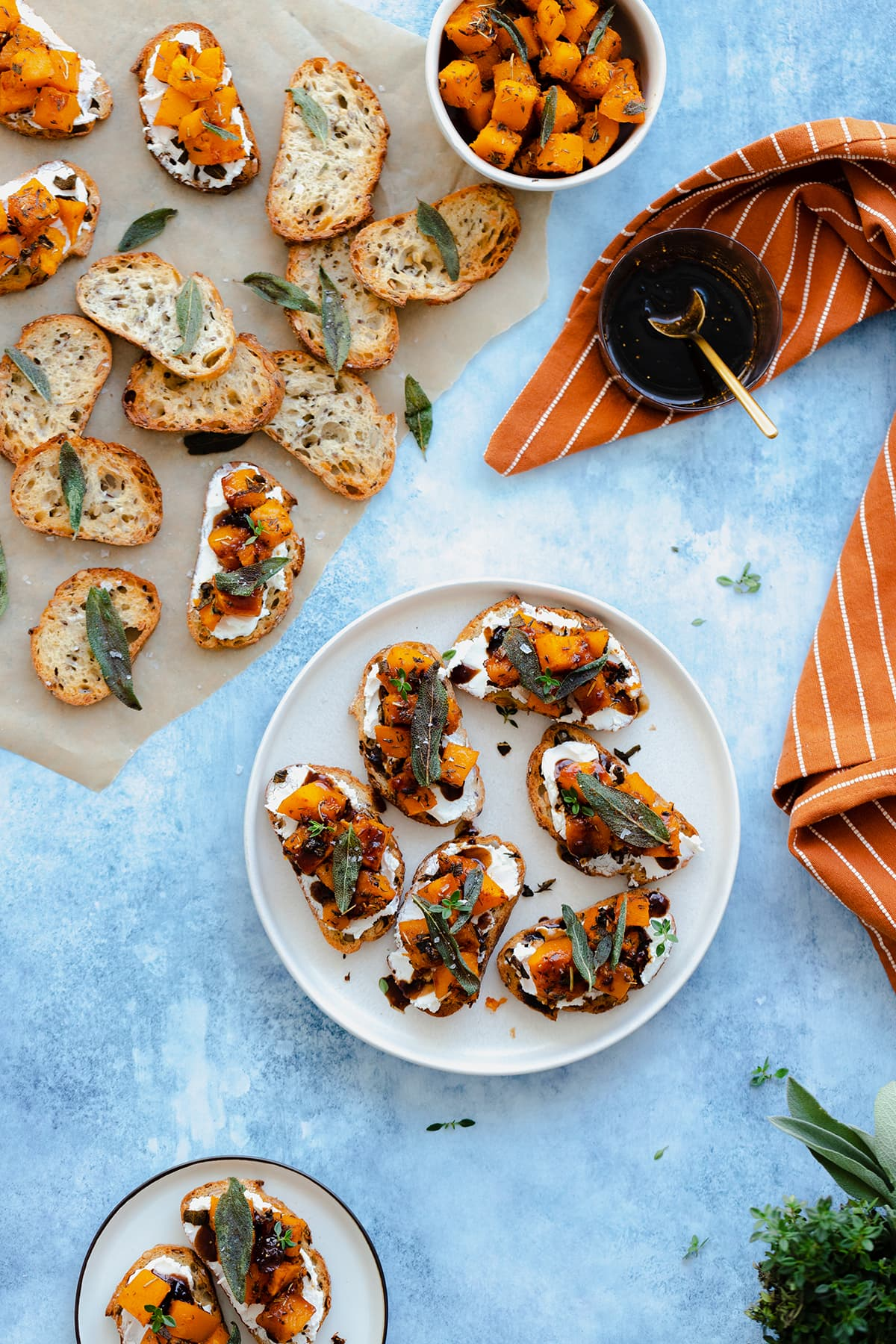 A photo of Butternut Squash Crostini with Goat Cheese and Fig Balsamic Glaze