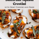 An overhead photo of Butternut Squash Crostini with Goat Cheese and Fig Balsamic Glaze with the title in the picture