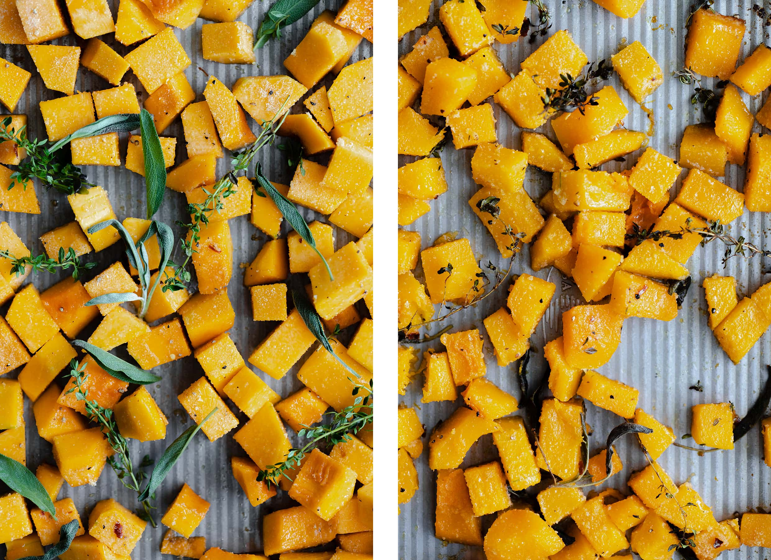 Butternut squash on a pan before and after roasting