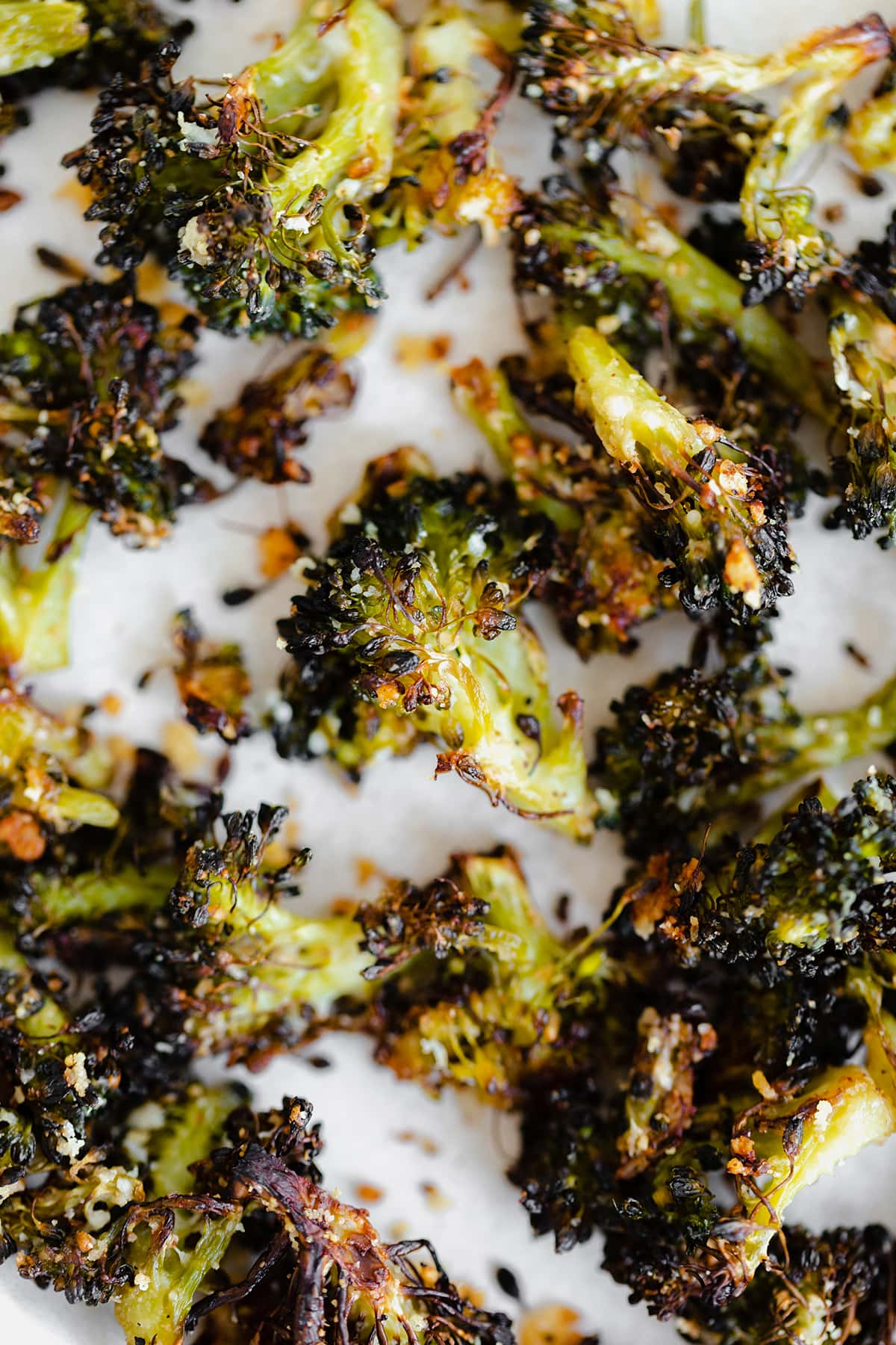 Roasted Cheesy Crispy Broccoli for Cream of Broccoli Soup with Roasted Broccoli Croutons
