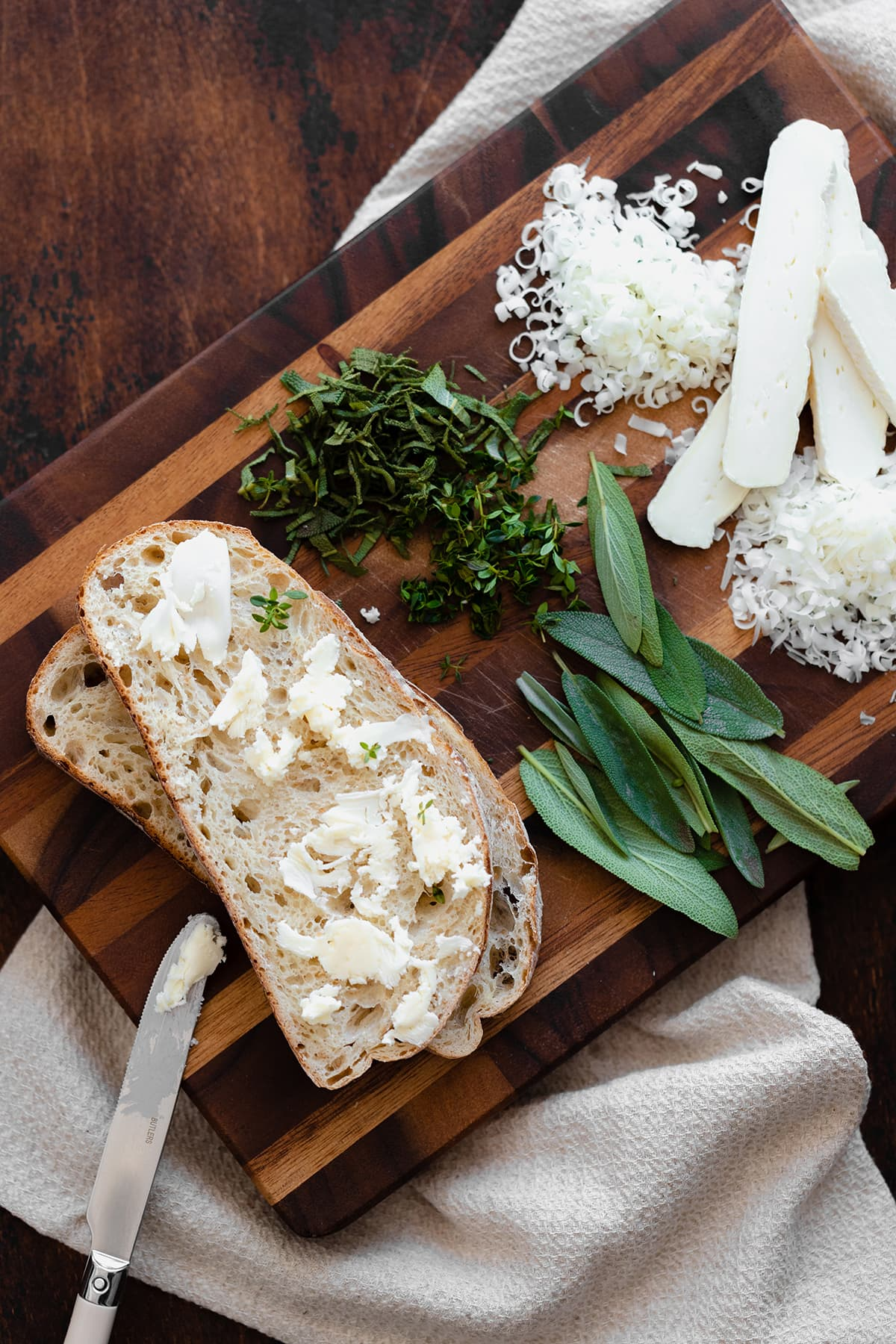 Ingredients for the Goat Grilled Cheese with Pear and Sage