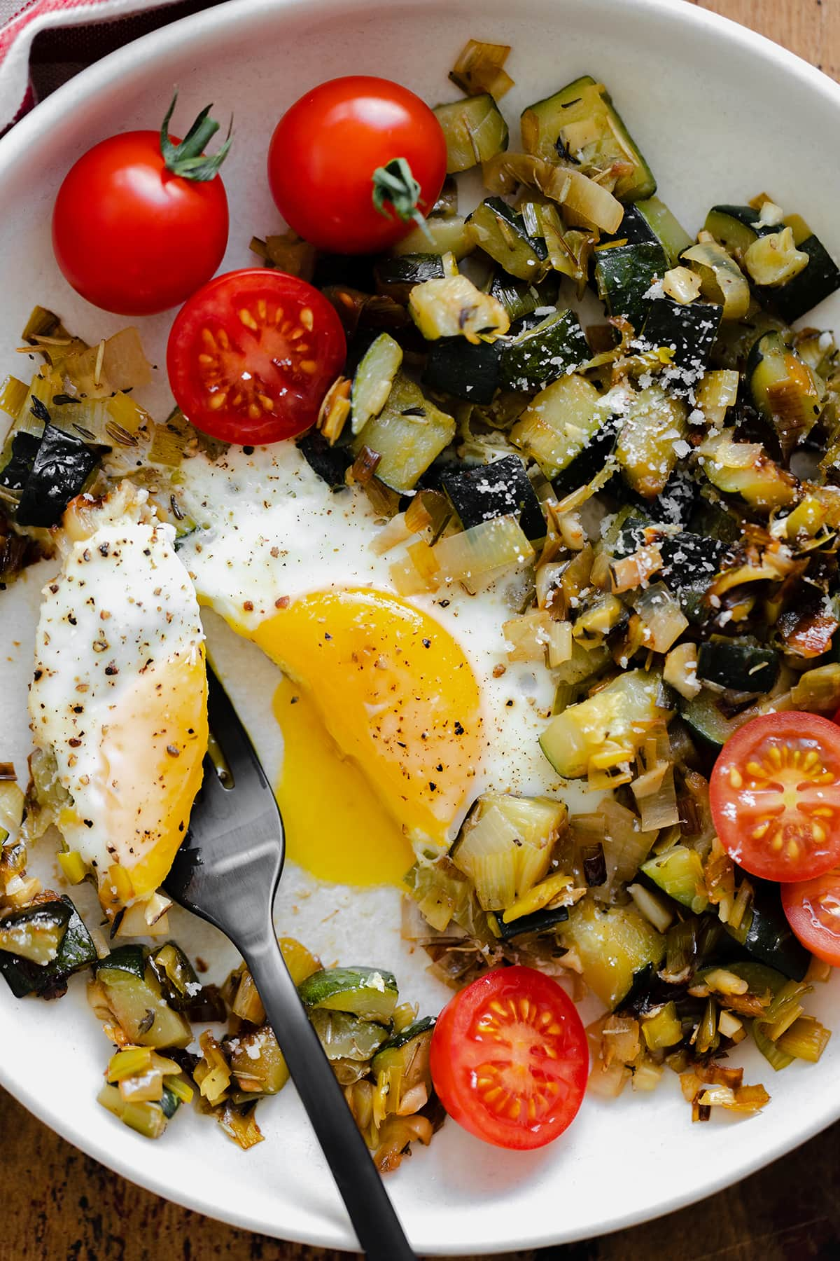 A close up shot of Leek and Zucchini Egg Skillet