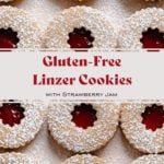 Gluten-Free Linzer Cookies with raspberry jam and a dusting of powdered sugar.