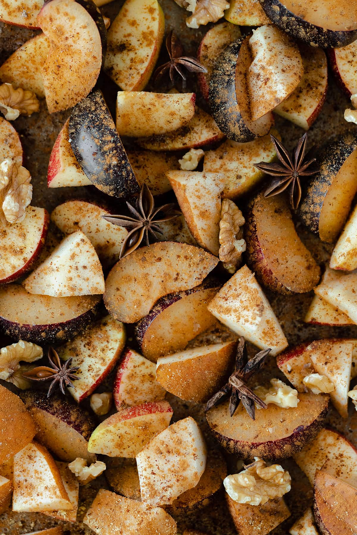 Chopped winter fruits spiced with cinnamon and warming spices.
