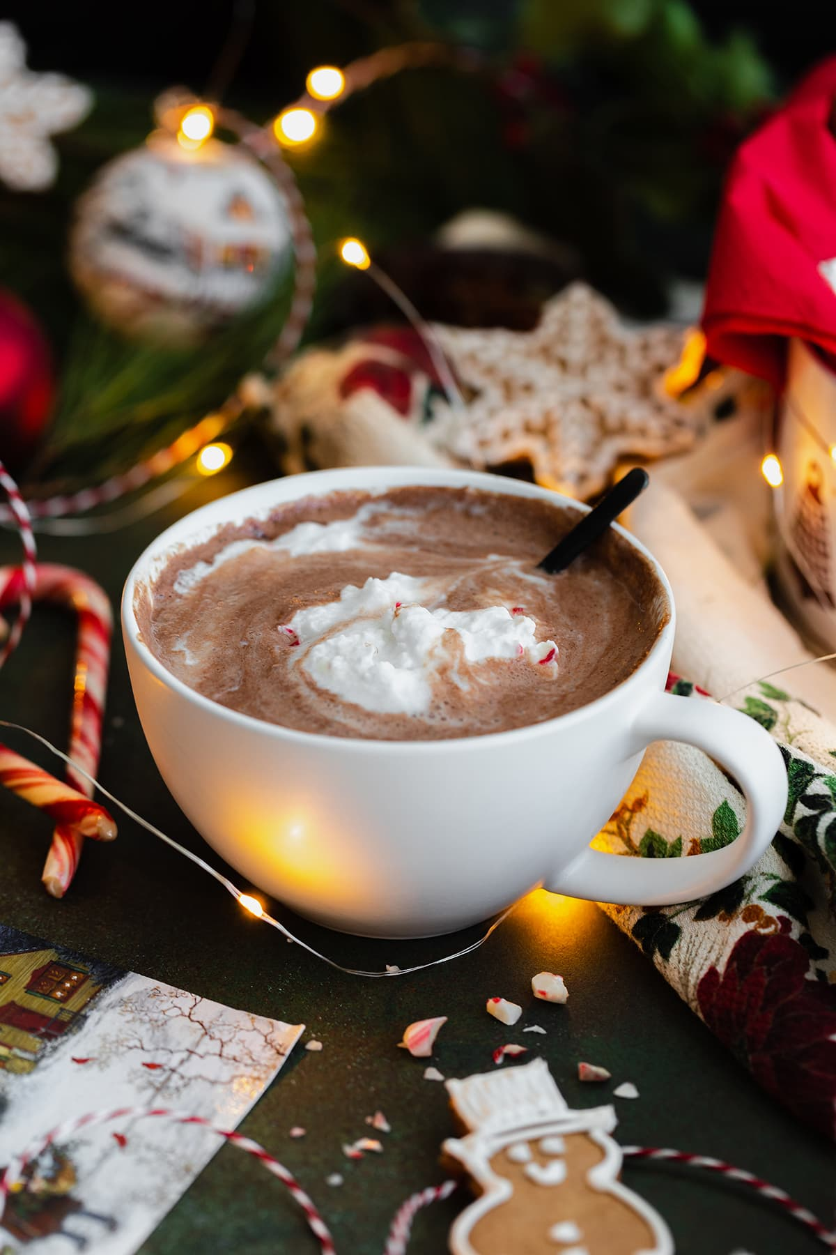 Half drunk cup of Peppermint hot chocolate