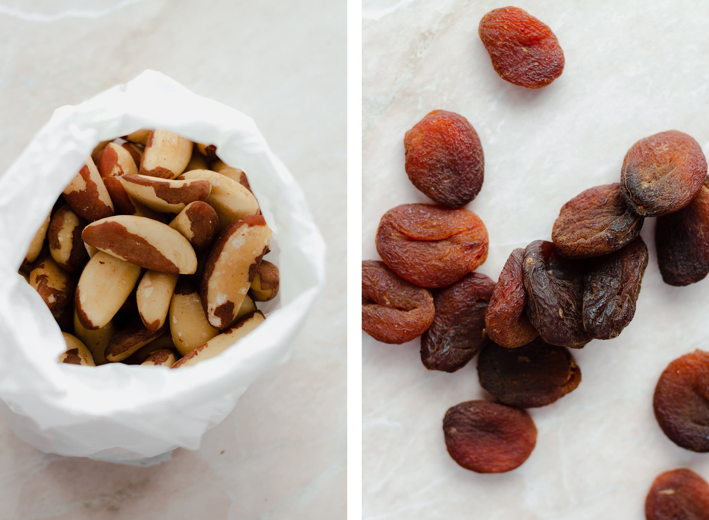 Two photos - one of brazil nuts in a white paper bag, the other of dried apricots.