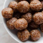energy balls in a white bowl.