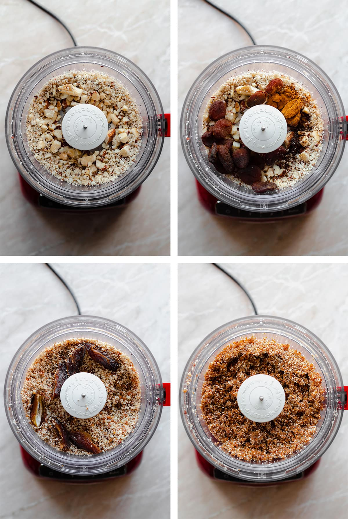 Four process shots of the food processor blending the ingredients for the Apricot Brazil Nut energy balls.