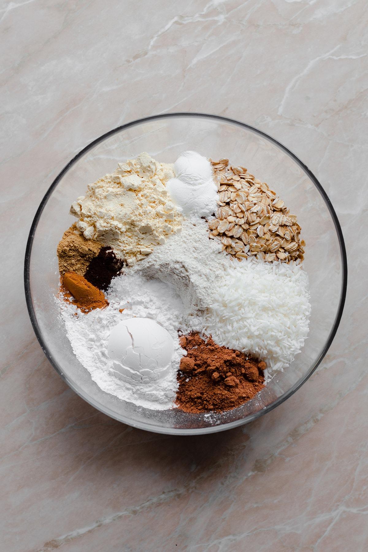 Ingredients for buckwheat banana pancakes.