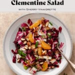 Radicchio Clementine Salad shown on a shallow grey bowl with a white stripe along the edge. Fork resting on the right side of the bowl in the salad. Recipe title in photo.