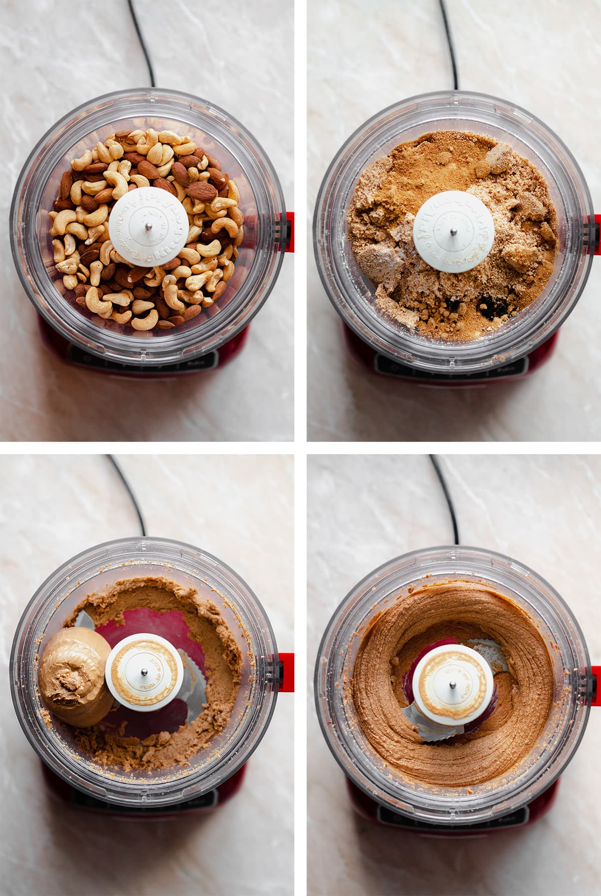 4 process shots of making caramel nut butter in a food processor.