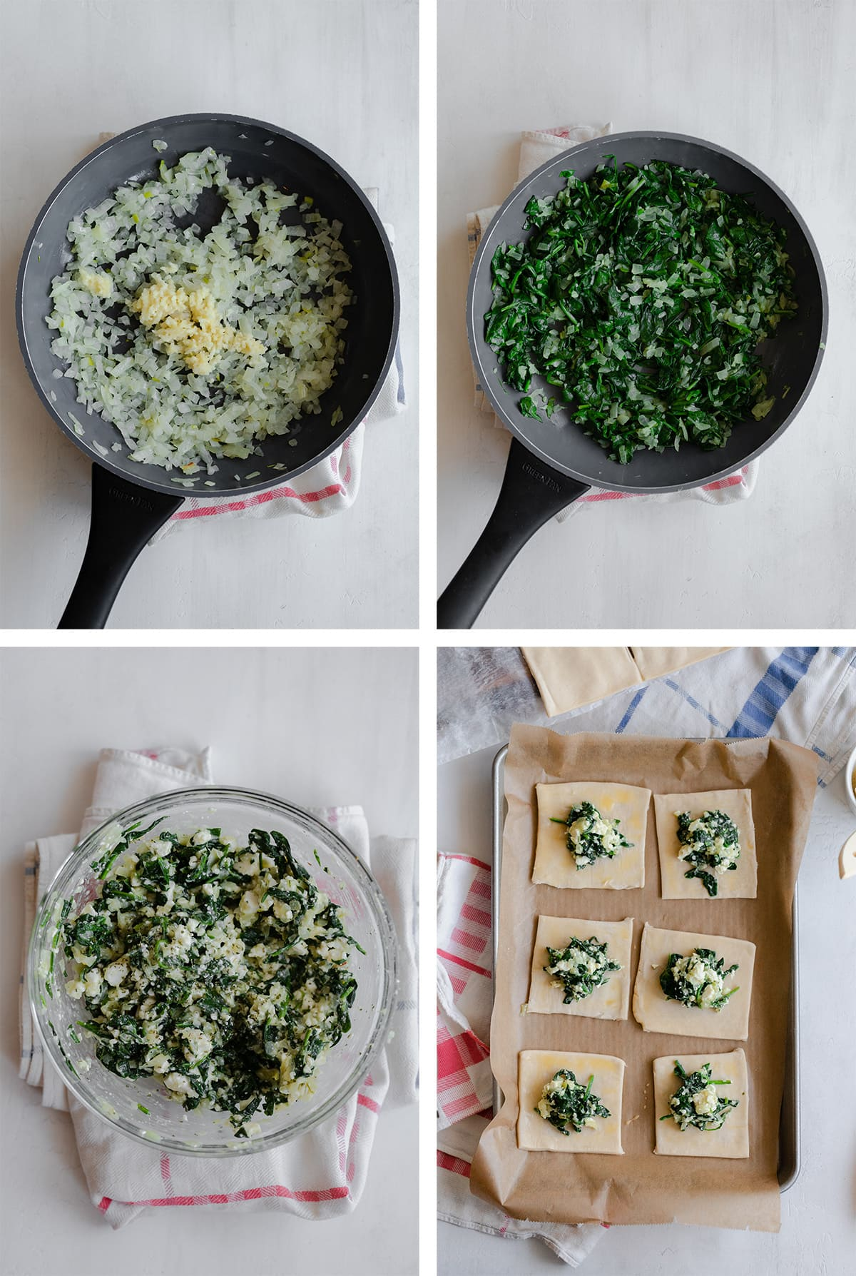 Step by step on how to make the filling for the Spinach and Feta Triangles -sauteeing the onion and garlic, adding spinach, mixing in the feta, and egg. And dividing it between the puff pastry squares.