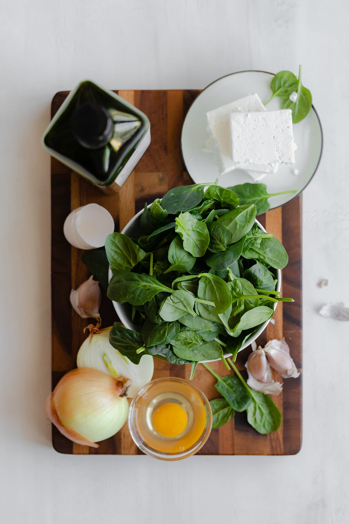Ingredients for Spinach and Feta Triangles