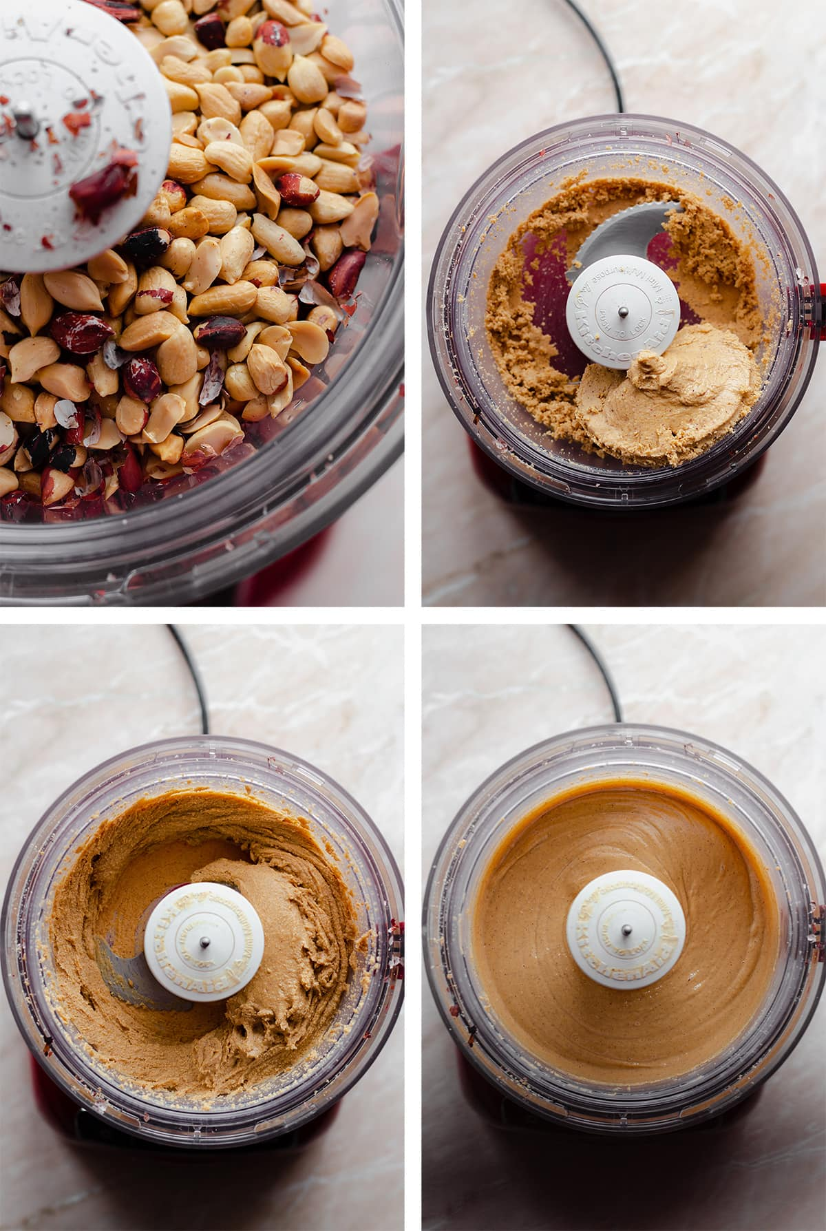 4 process shots of making wild peanut butter