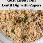 A close up of lentil dip garnished with fresh dill, capers, and a drizzle of olive oil.
