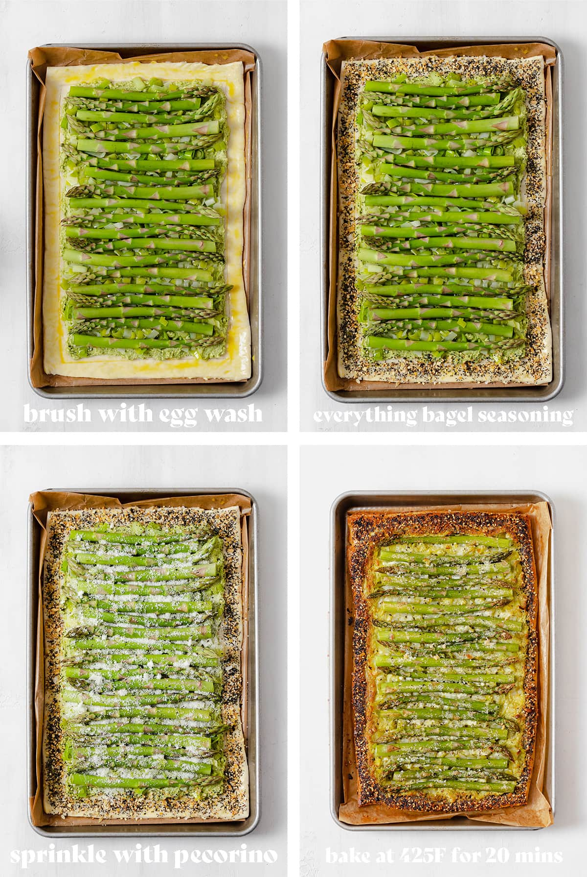 Step by step photos of how to make asparagus leek tart. Puff pastry on a baking sheet with toppings.