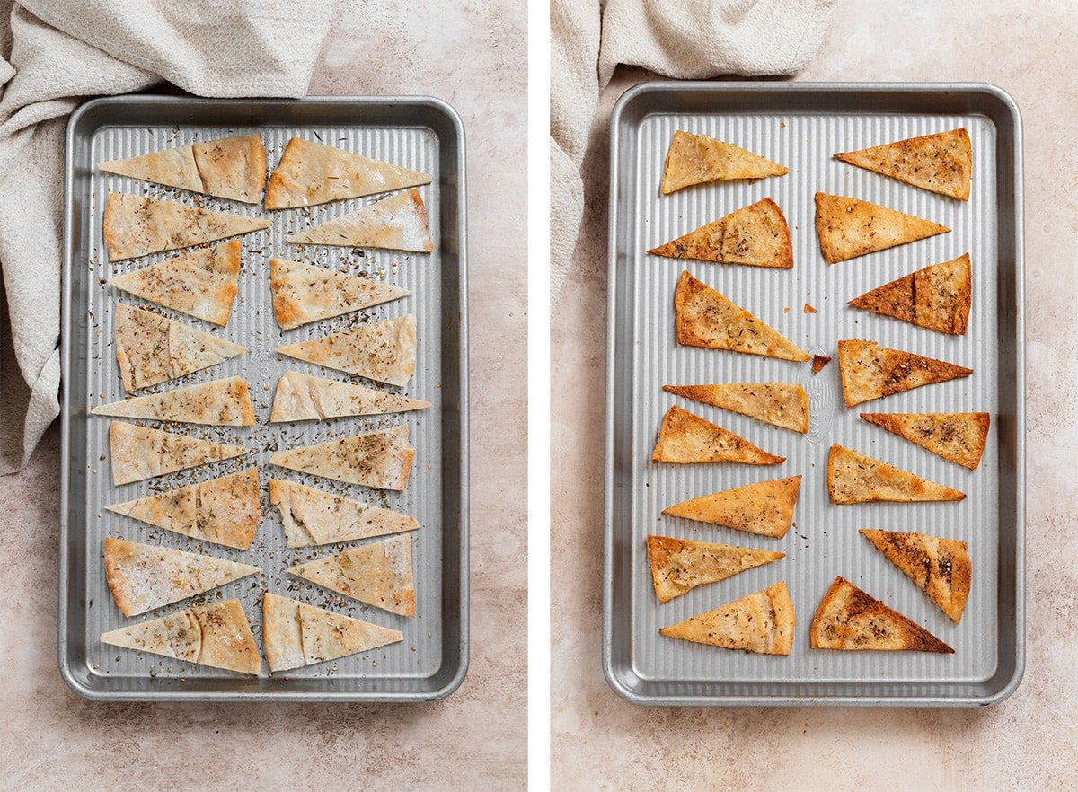 Two photos of homemade pita chips on a baking tray before and after baking. Before on the left and after on the right.