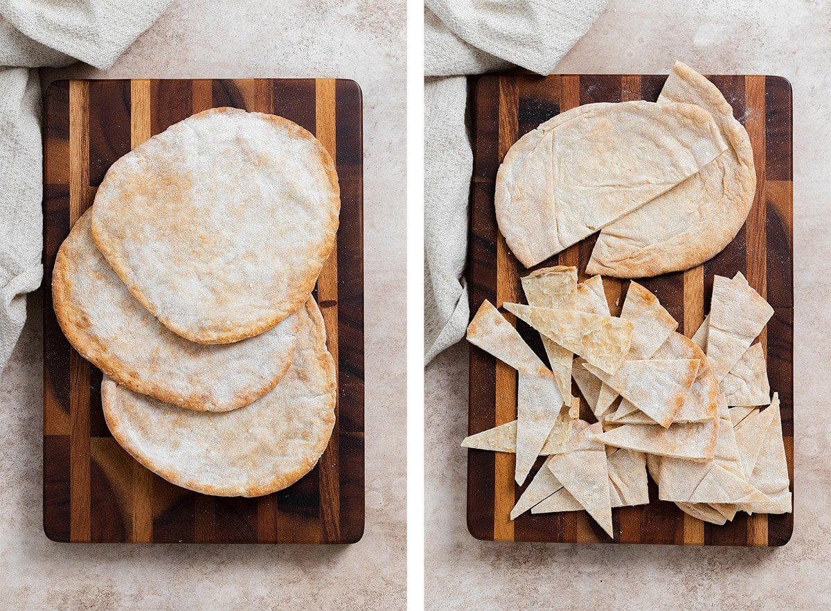 Three pitas on a wooden cutting board - photo of the left of whole pitas, photo on the right of pita cut up into triangles.