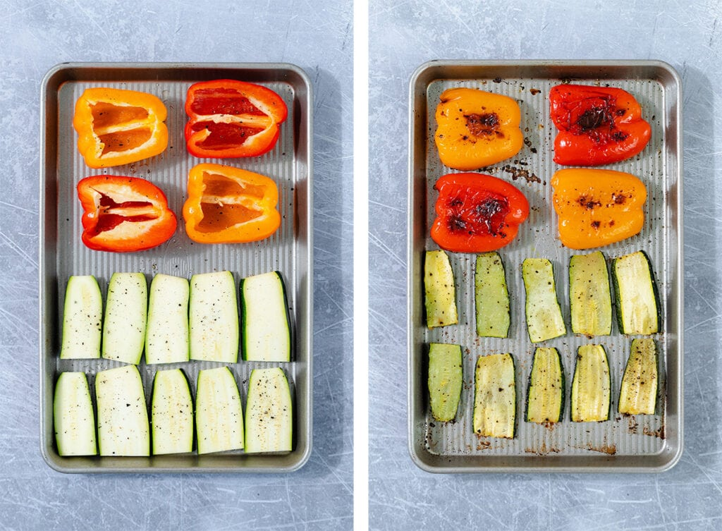 Two photos of bell peppers and zucchini slices on a baking sheet. On the left before roasting, on the right after roasting.