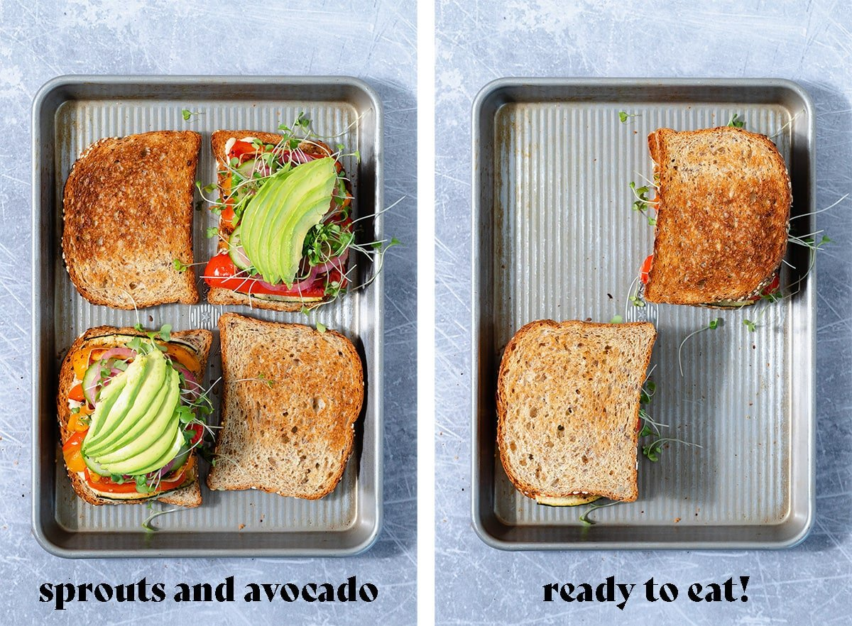 Two photos of the sandwiches all layered with ingredients and then the other one ready to eat.