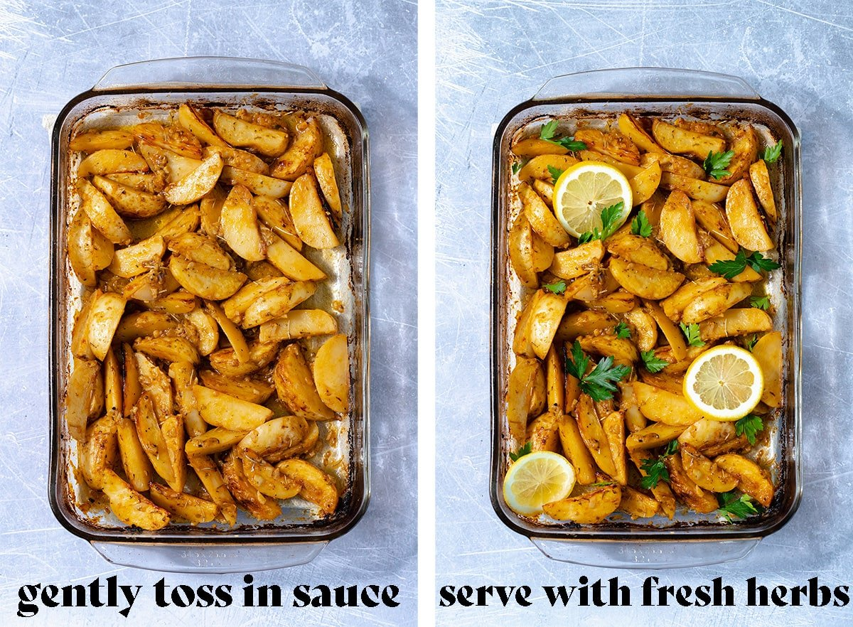 The last two steps on how to make the potatoes - toss in sauce and serve.