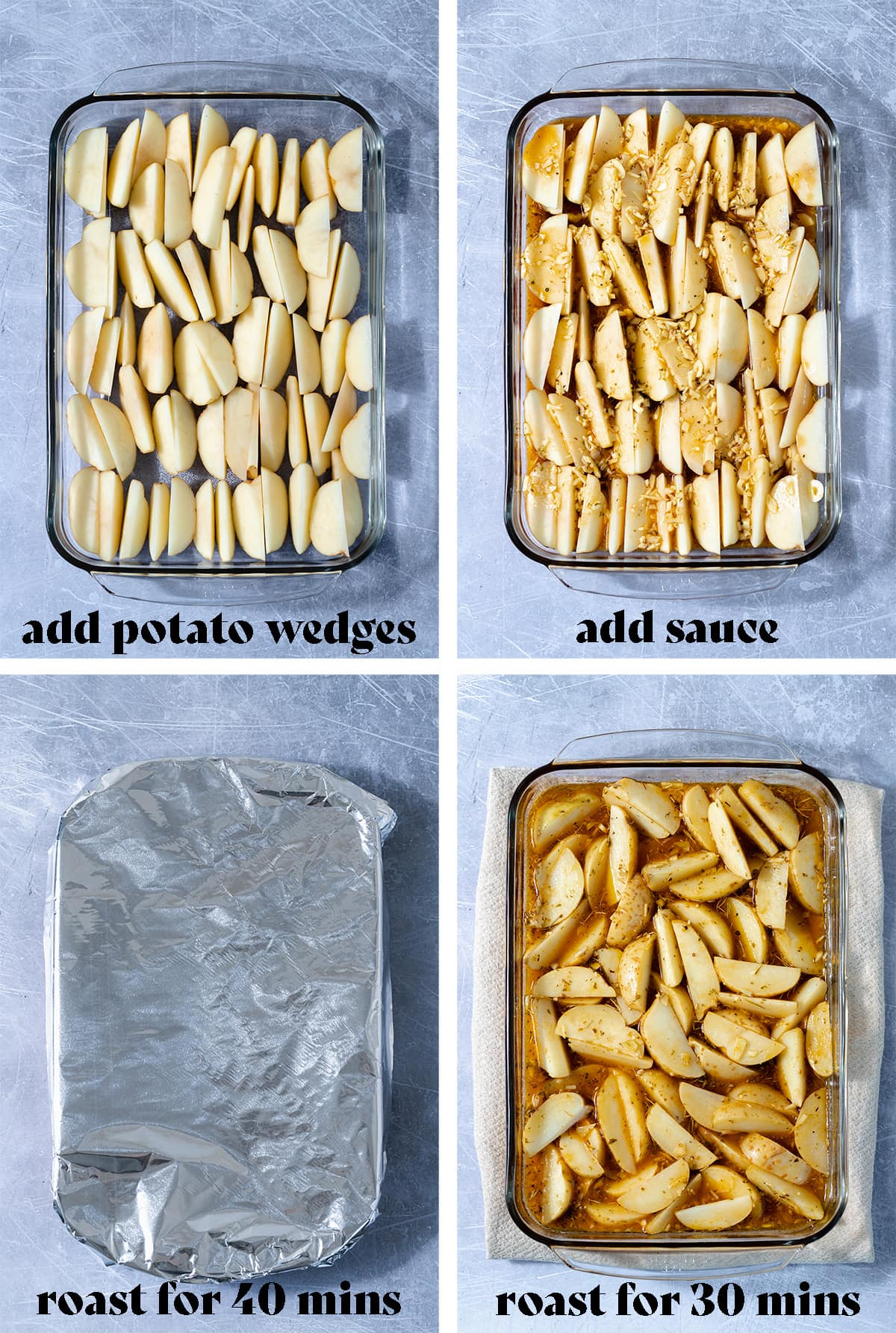 Four step by step photos of how to make Mediterranean Potatoes