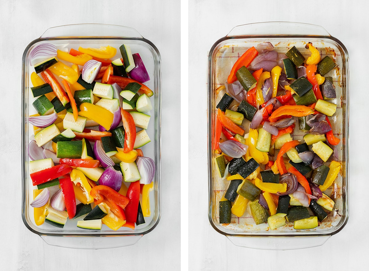 Two photos of glass sheet pan with mixed vegetables (red onion, zucchini, bell peppers). Left is of unroasted veggies, right is of roasted veggies.