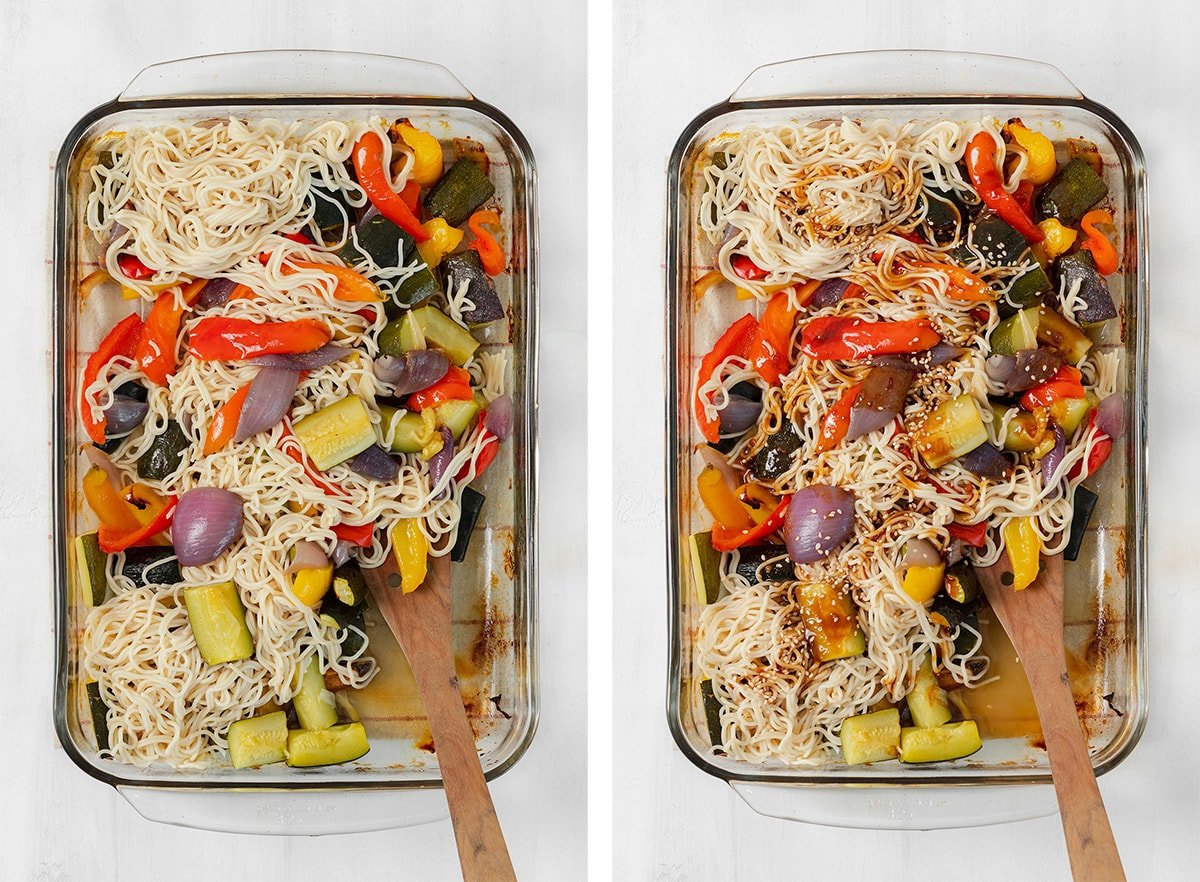 Two photos of gluten-free ramen stir fry on a glass sheet pan. Left photo without sauce and right photo with sauce.