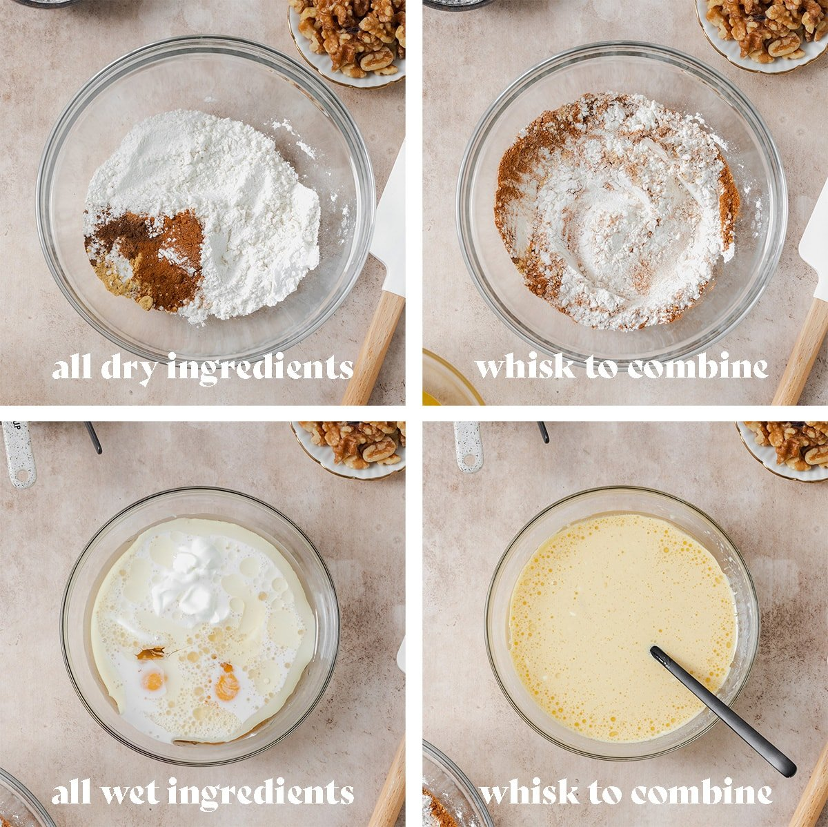 Four process photos of how to make carrot cake waffles step by step. Ingredients being mixed in a bowl.
