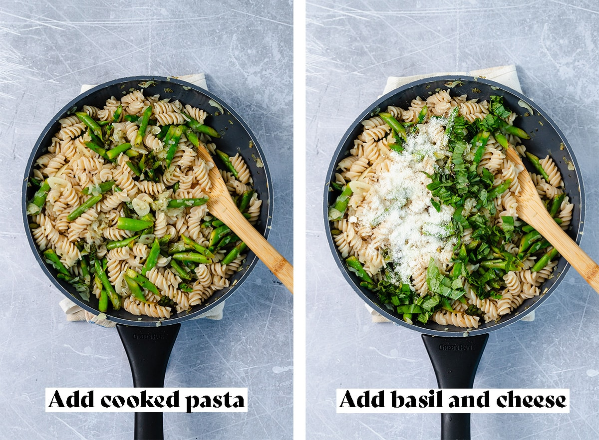 Two process shots of making of asparagus pasta. The photo on the left says to add cooked pasta to the onions, garlic, and asparagus. The photo on the right says to add cheese and fresh basil.