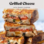 A close up of three tomato grilled cheese sandwiches stacked on top of each other.