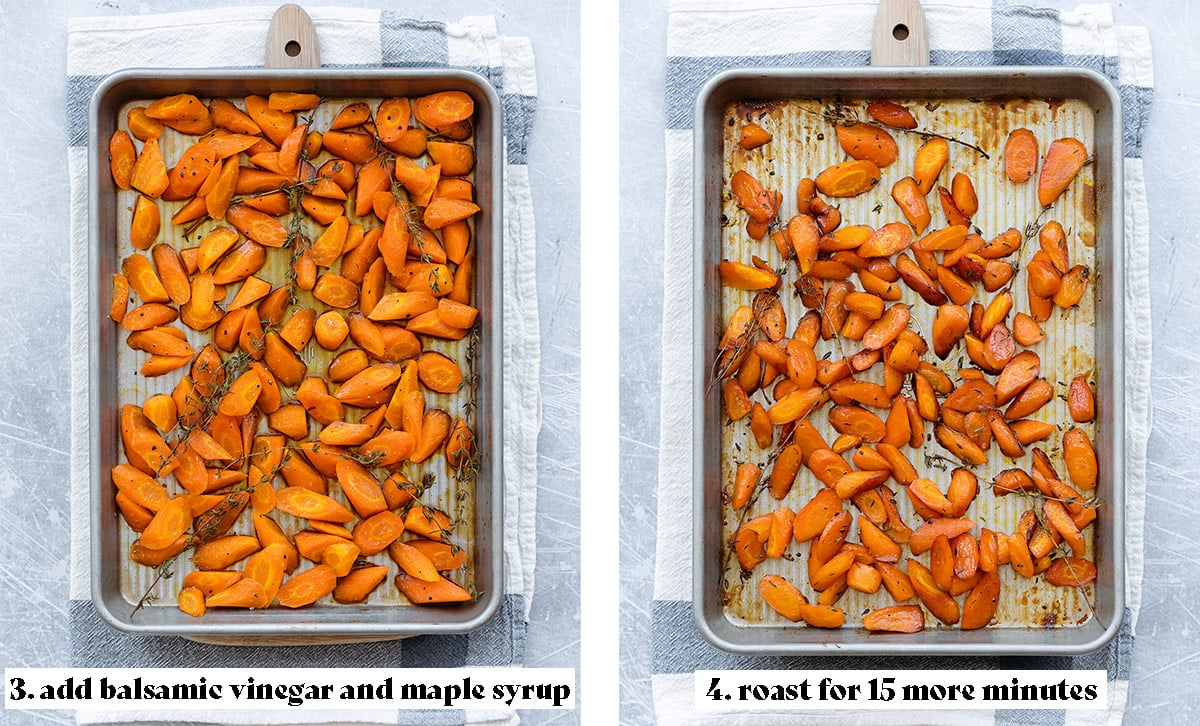 Two photos of the carrots on a baking sheet halfway through and after roasting.