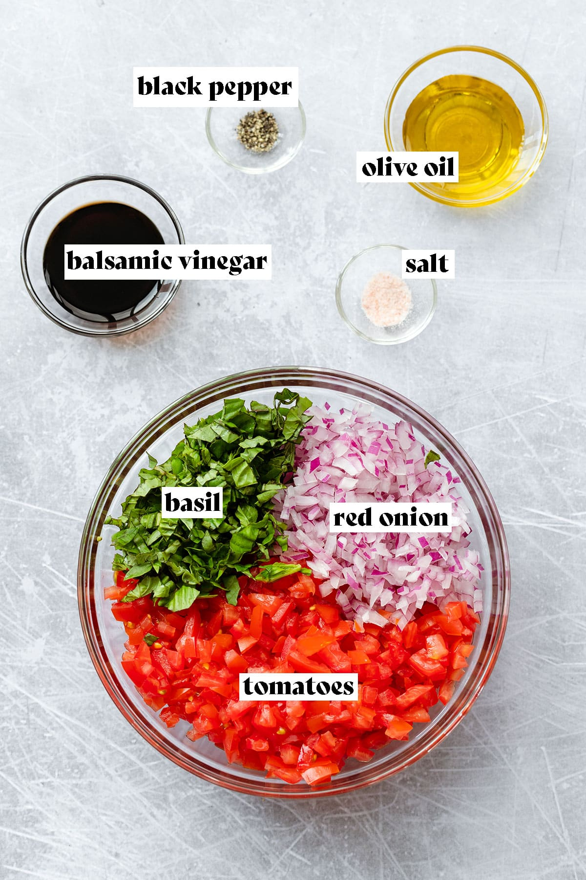 Ingredients for bruschetta with mozzarela laid out on a scratched metal background. Tomatoes, basil, red onion, olive oil, salt, black pepper, and balsamic vinegar.