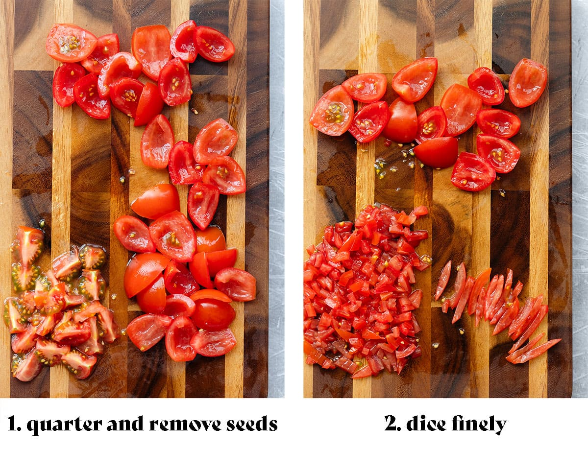"""Two photos showing how to dice the tomatoes. On the left the photo says """"1. quarter and remove seeds"""". On the left, the photo shows the tomatoes chopped and says """"2. dice finely""""."""