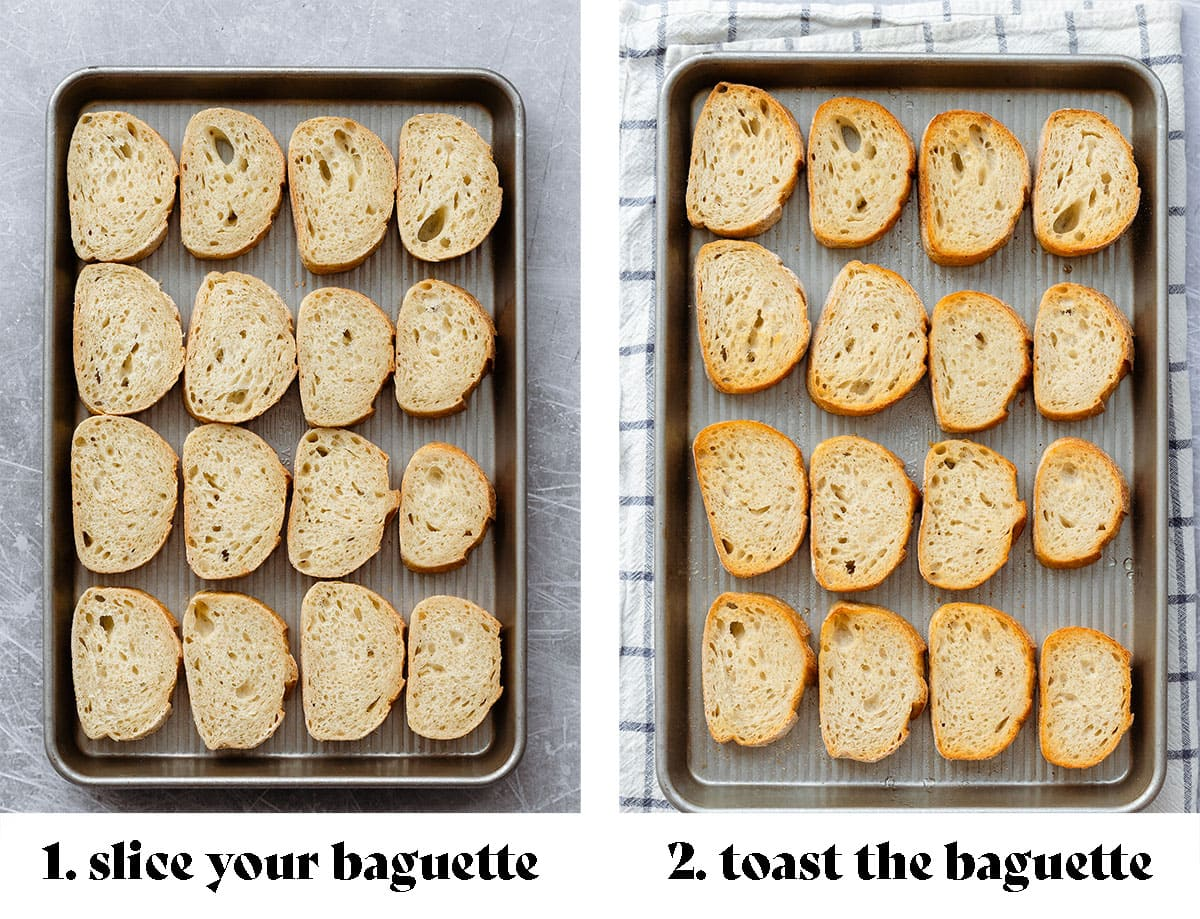 """A process shot of toasting the baguette. On the left there's fresh sliced baguette on a baking sheet (text says """"1. slice your baguette""""). On the right the baguette is toasted (the text says """"2. toast the baguette"""")."""
