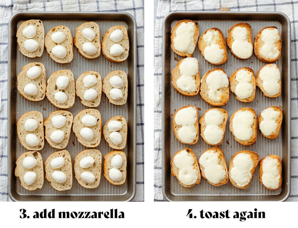 """A process shot of toasting the baguette. On the left with fresh mini mozzarella before melting in the oven (text says """"3. add mozzarella""""). On the right after toasting, the cheese is melted (text says """"4. toast again"""")."""