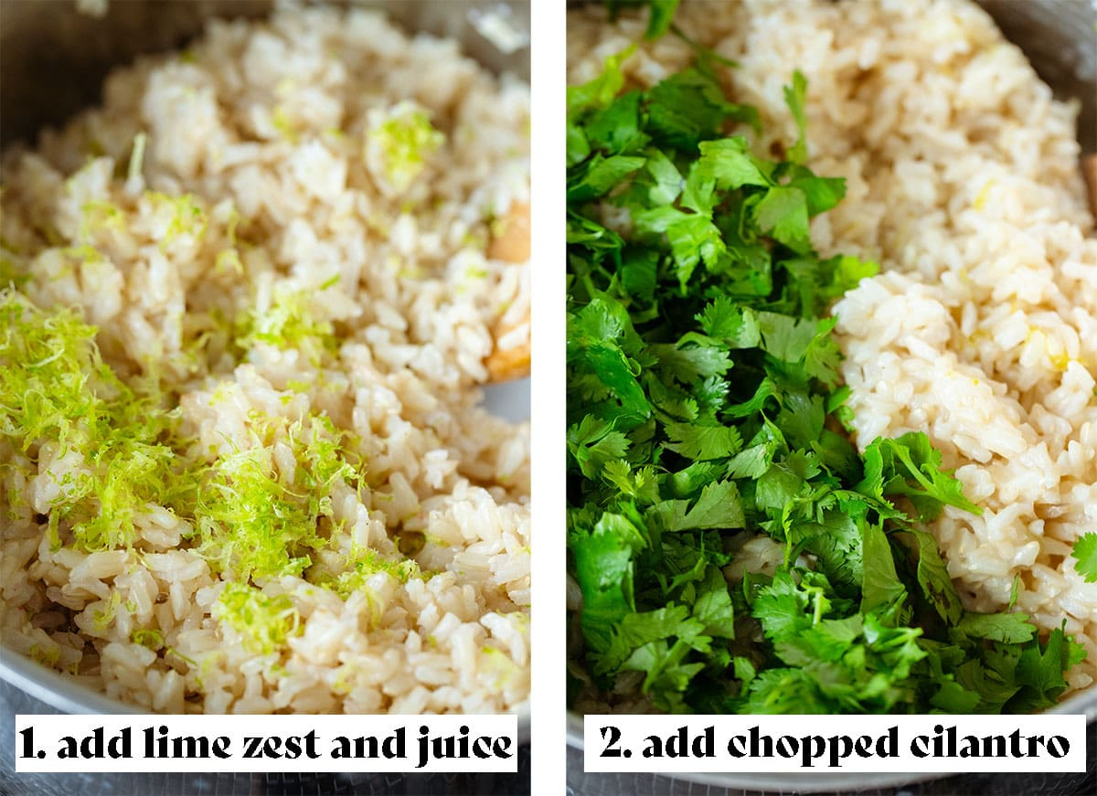 Two photos of the brown rice being cooked, the one on the left has lime zest added on top. The photo on the right has fresh cilantro on top of it ready to be mixed in.
