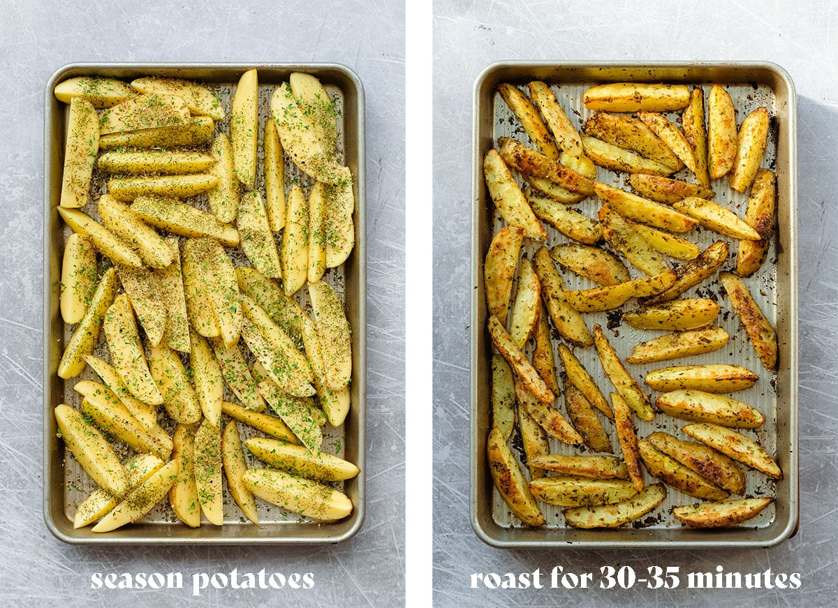 Two photos of the process of making Greek Fries Potatoes seasoned before roasting on the left and after roasting on the right.