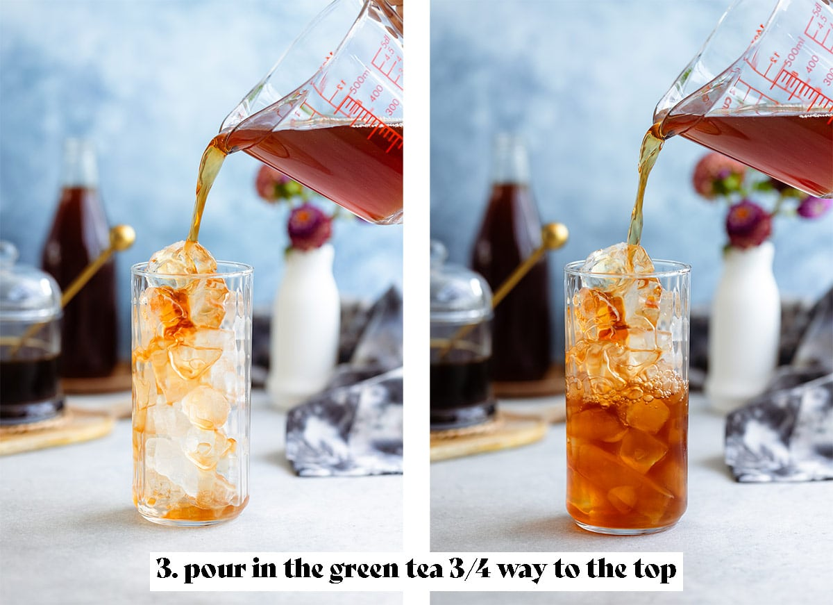 Chilled earl grey tea being poured over ice into a tall glass.