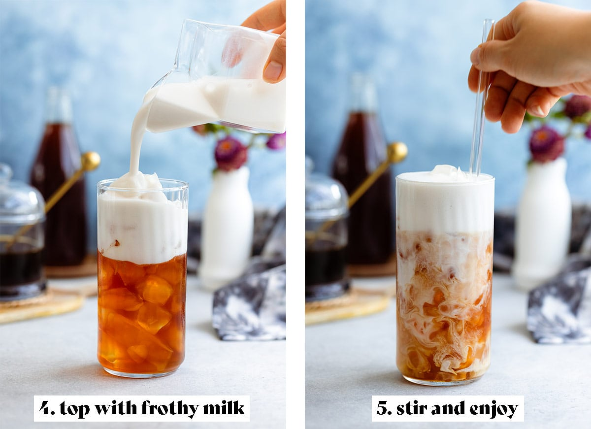 Frothy milk being poured into iced earl grey tea on the left and a hand mixing the two on the right.