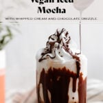 A tall glass with iced mocha topped with whipped cream and a drizzle of dark chocolate on a white background.